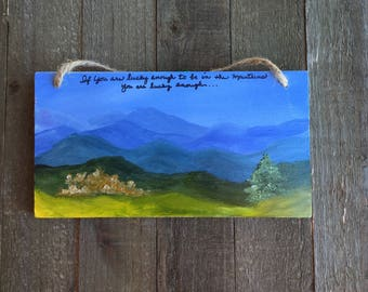 Mountain landscape, Small art decor, Smoky Mountains,  Blue Ridge Mountains, Appalachian Mountains, Oil painting, Smoky Mountain Landscape,