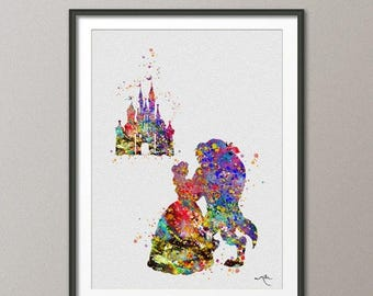 Beauty and the Beast Belle and Castle Fairy Tale Princess Watercolor Nursery Art Print Wedding Gift Girls Wall Art Home Decor [NO 332]