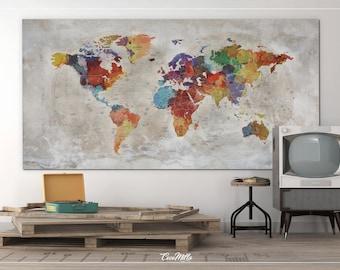 World map push pin extra large canvas print watercolor world world map push pin large world map extra large canvas print map old gumiabroncs Choice Image
