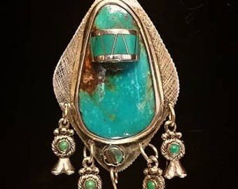 """Beautiful Sterling Silver, Kingman Turquoise Pendant and 16"""" Necklace"""