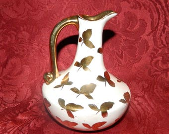 Pretty White Miniature China Pitcher Vase Decorated with Gold Leaves