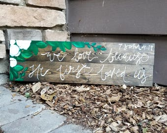 Rustic Wooden Floral Wedding Sign - Customizable wooden wedding sign