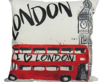 London, I love London Bus with Big Ben - England Pillow Cover