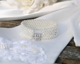 Swarovski crystal bracelet, Pave Effect, Encrusted with Crystals, Hand made Cuff Design.