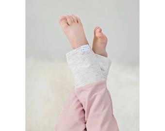 Blush & Heather Oatmeal Fold-over Waistband Sweat Pants