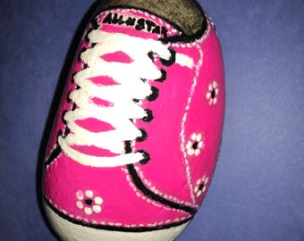 pink tennis shoe hand painted rock