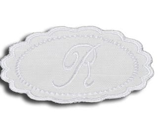 "Embroidery patch ""Letter R"" Monogram white"