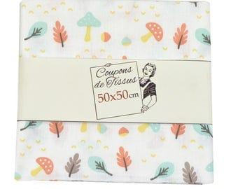 "Cut of fabric 100% cotton ""HERYCO Mint / Orange"" 50cm X 50 cm"