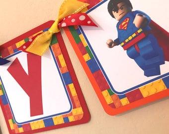 Lego Superhero Themed Birthday Banner