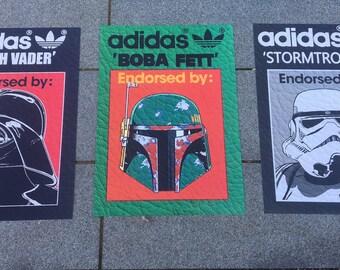 ADIDAS Originals Star Wars Darth Vader Stormtrooper  Boba Fett 3x A3 art Print poster set Limited Edition Dark side