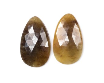 Earth Tone Sapphires, Large pear Shapes, Rose Cut Pair, Rainbow Sapphire, Cabochon Slice, Natural Sapphire, Loose Sapphire, Loose Gemstones