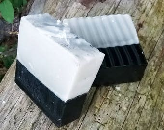 Happy Camper Scent Duality Bar : Activated Charcoal Pine and Bentonite Clay Shea Butter Tea Tree Detox Cleanser / Handcrafted Soap Bar