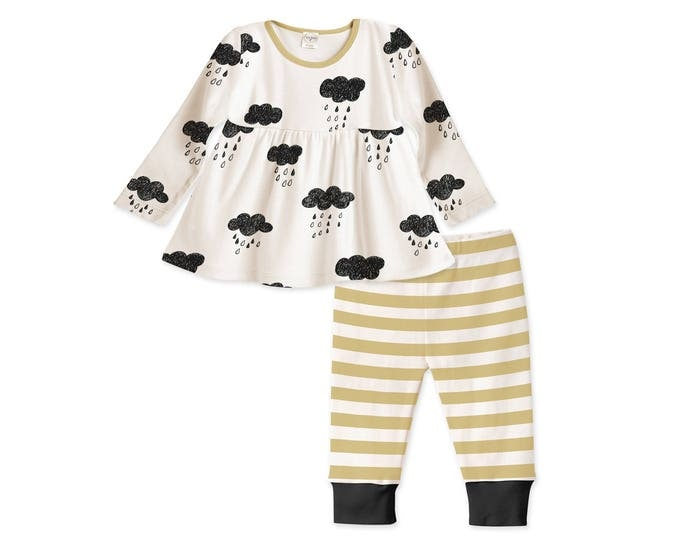 Baby Girl Outfit, Baby Girl Long Sleeve Tunic, Baby Girl Leggings, Yellow Stripes, Clouds, TesaBabe TL180CSMD0000