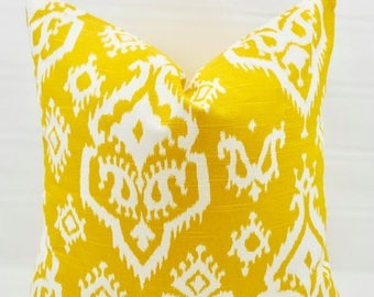 SALE Yellow Pillow cover. Raji Ikat Corn yellow & white Print.   Pillow Case. 1 piece.  cotton. Select your size