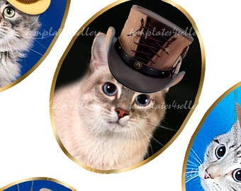 Digital Collage Sheet Cat in Hat  30x40mm oval images for pendants and jewelry making  Original  Printable 4x6 inch 427