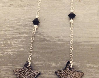 Earrings dangling Silver Star leather and Swarovski crystals