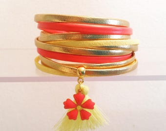 Multi strand cords tropical spring coral golden yellow leather Cuff Bracelet