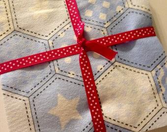 30 - 6.5 Inch Cotton Flannel Pre Cut Fabric Squares - Light Blue Hexagons, Rag Quilt Kit Squares, Patchwork Quilt Squares, Charm Pack