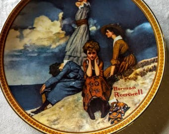 """Norman Rockwell """"Waiting on the Shore"""" Limited Edition Collector Plate; Edwin Knowles; Rediscovered Women collection"""