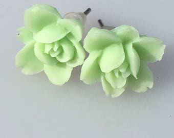Green rosette Flower Earrings green flower rose