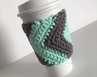Crochet Cup Cozy - Chevron Cup Cozy - Cup Warmer - Cup Koozie - Cup Holder - Cup Sleeve - 100% Cotton - Mint and Grey Cup Cozy - Mug Sleeve