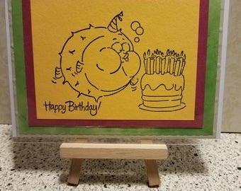 "Handmade Card ""Happy Birthday Blowfish"""