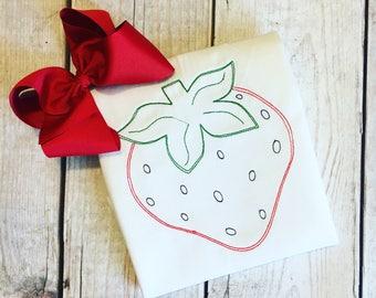 Vintage Stitch Strawberry Applique Tee