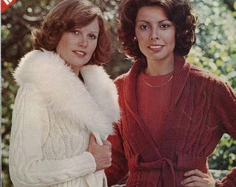 Eclipse SALE 1970s The Wrap Sweater Knitting Pattern Leaflet Shawl Fur or Angora Collar  Leisure Arts 46