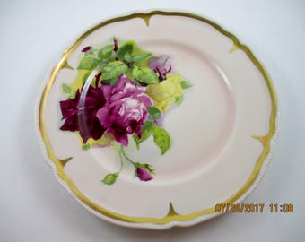 "Roses Hand Painted Plate 10 1/2"" signed ULLRICK"