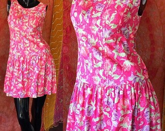 Sale LAURA ASHLEY Party Dress Floral Pink Mini Dress 80s Pleated Dress