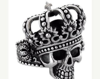 Anniversary SALE Sterling Silver 925 King Skull Biker Ring Made in USA
