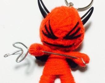 Red Devil Voodoo String Doll Cartoon Keychain Key Ring Keyfob Ornament Thai Handmade