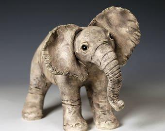 Ceramic baby elephant sculpture, one-of-a-kind, original handcrafted fired clay elephant sculpture