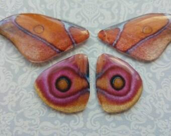 Sakura Silk Moth wings. Artbeads. Handmade fantasy beads. Insect wings. Entomologist. Resin