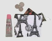 Eiffel Tower Zipper Coin Purse French Key Chain Wallet Paris Business Credit Card Holder Key Ring Fabric Mini Pouch Black White