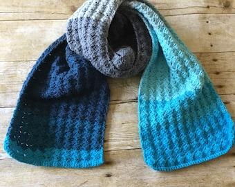 HANDMADE Crocheted Blue Ombré Scarf. Sky Blue Navy Gray