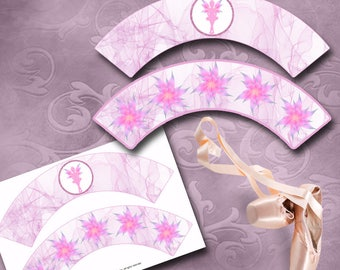 Ballerina Fairy Cupcake Wrappers - Instant Download - Printable Fairy Cupcake Wrappers