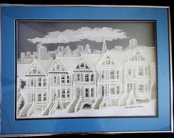 Vintage 3D Three-Dimensional Picture - San Francisco Row Houses by Debbie Patrick - 1980s - professionally mounted & framed