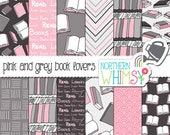 Pink and Grey Book Lovers' Digital Paper / Scrapbook Paper