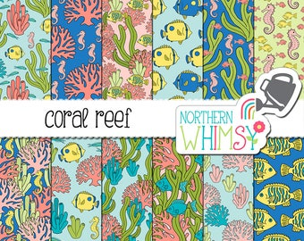 "Ocean Digital Paper - ""Coral Reef"" - tropical fish, seahorse, coral, and seaweed seamless patterns in pink, green, and blue - commercial use"