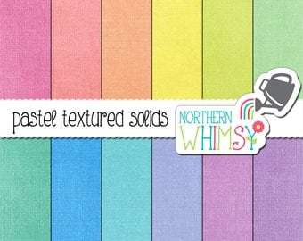 Pastel Solid Digital Paper - scrapbook papers in solid pastel colors with paper texture and distressing - commercial use OK