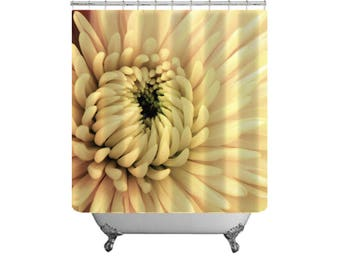 Yellow Shower Curtain-Flower Bath Curtain-Floral Shower Curtain & Bath Mat Combo-Yellow Bath Decor-Fabric Shower Curtain-Cottage Chic