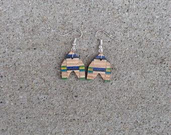 Blue Green Yellow Black rocket earrings
