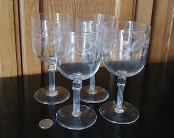 Etched Wine Glasses, Vintage Stemware, Vintage Wine Glasses, Crystal Wine Glasses, Etched Stemware Set, Crystal Stemware, Large Wine Glasses