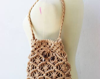 Vintage Woven Bag ,with Rope Straps,Bag handmade ,vintage Mixed ,Native Thai, Tribal Ethnic ,Textile Striped,Boho (V051)