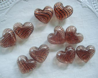 DeStash! 2pc Amethyst Hollow Lampwork Handmade Heart Beads. Striped. 25x23x12mm  Limited Supply! ((Out of Production)) ~USPS Ship Rates/OR