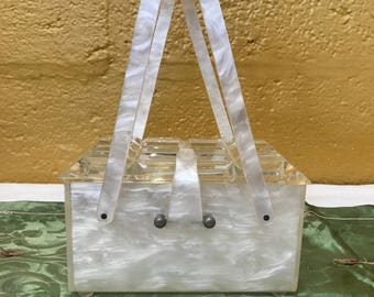1950s White Lucite Handbag, Midcentury Box Bag