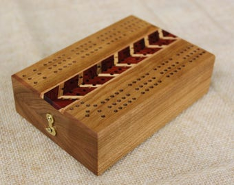 Three Track, Folding Travel Cribbage Board With Inlays