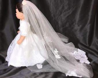 18 in. American Girl Doll Communion  or Wedding Dress and Veil one of a kind, ONLY ONE