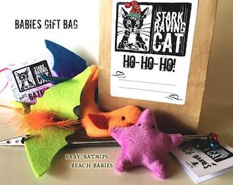 Babies Cat Toys Gift Set - 4 Catnip Toys, Wand, Free Gift Wrap